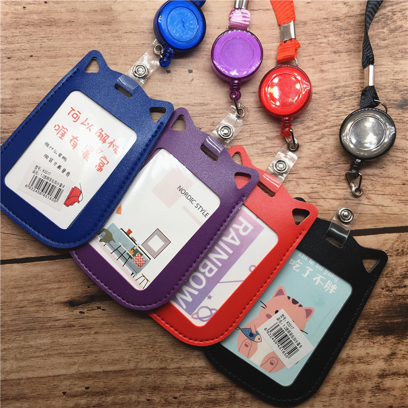 Cat ID Card Holder Badge Holder With Lanyard Cartoon Kawaii Student Card Set Retractable Lanyard Badge Reel Stationery