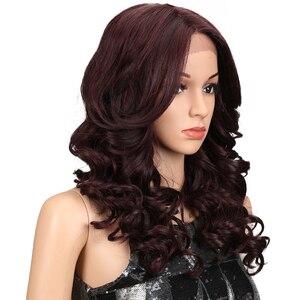 """Image 3 - M 20 """"นิ้ว Ombre GOLD Dark สีแดงวิกผมหยักยาวคอสเพลย์วิกผมลูกไม้ด้านหน้าลูกไม้วิกผมสำหรับผู้หญิงสีดำหลวม WAVE Wigs"""