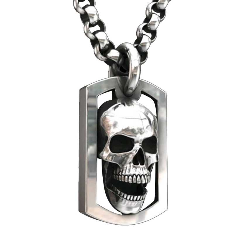 Tot Death Do Us Part Hip Hop Mannen Fashion Rvs Skull Ketting Punk Gothic Engagement Sieraden Ketting