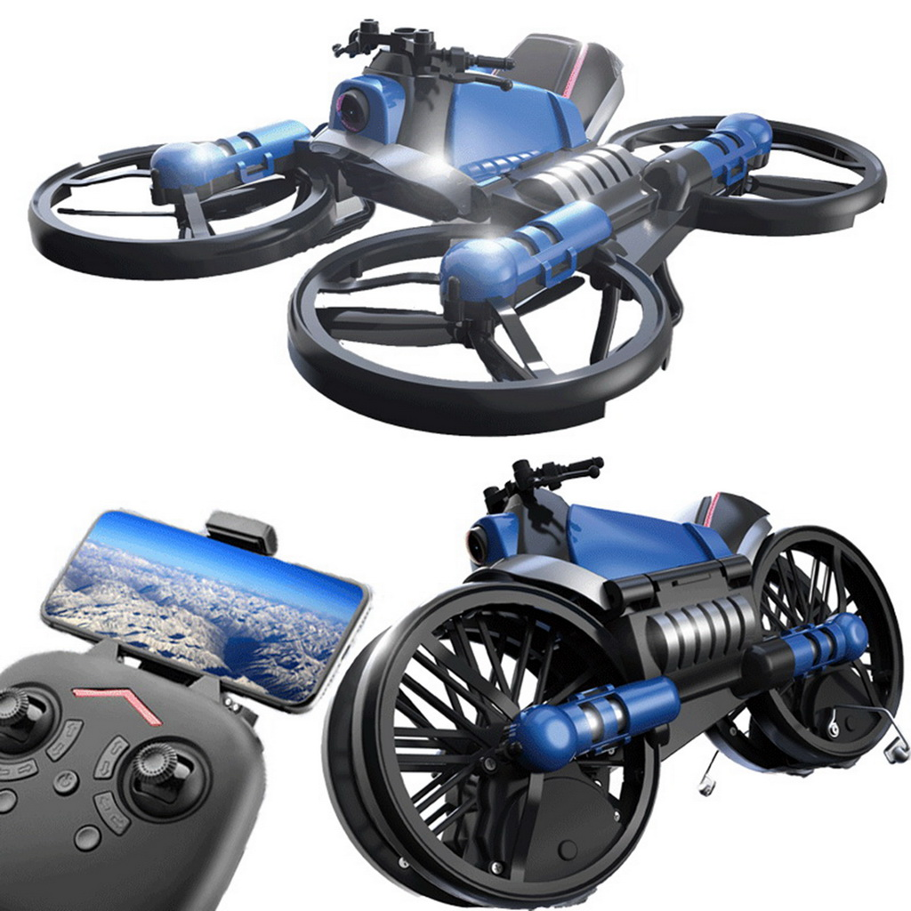 Mini UAV 2 4G Movable Motorcycle Folding Four Axis Vehicle DIY Two in One Remote Control Toy RC PLANE Aerial Photography Boy Toy in RC Helicopters from Toys Hobbies