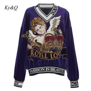Image 3 - Женские бархатные свитера, дизайнерские пуловеры с вышивкой Angel Baby, весна 2020