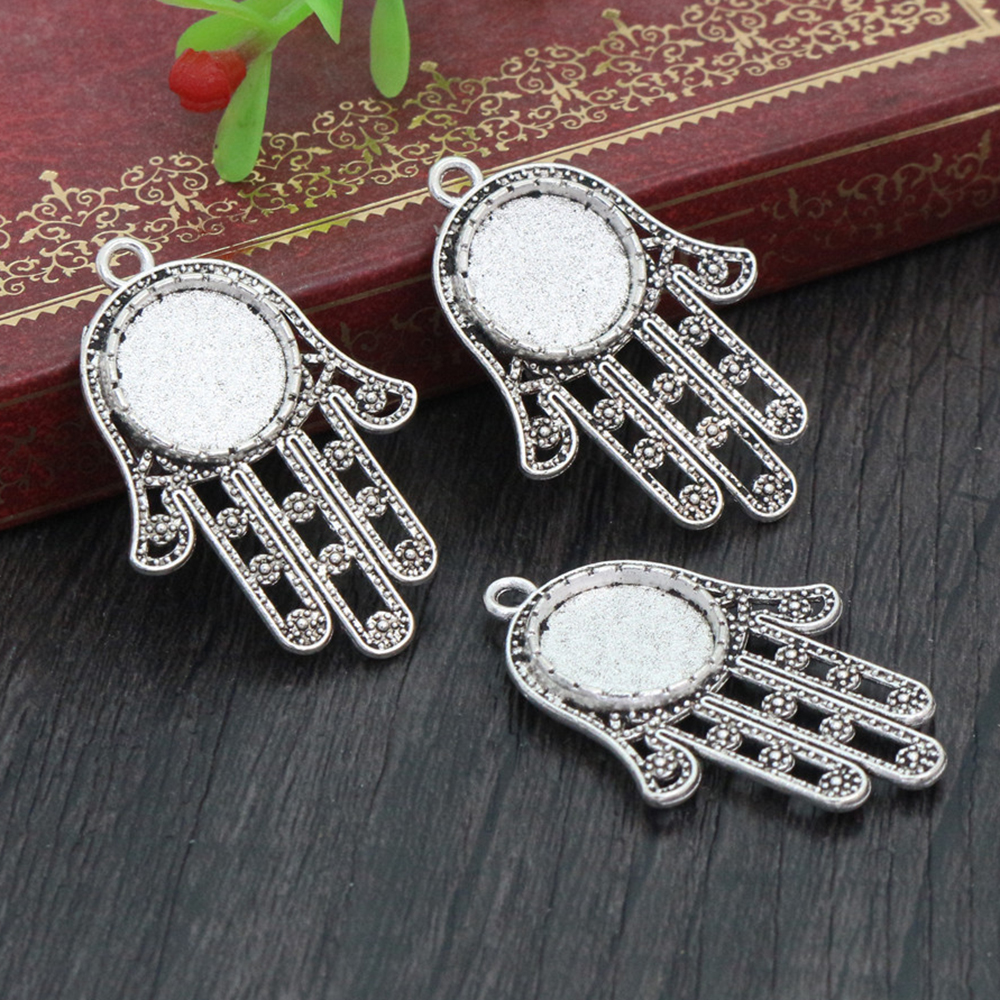 14pcs 12mm Inner Size Antique Silver Plated Hand Style Cabochon Base Cameo Setting Charms Pendant Tray (A1-15)