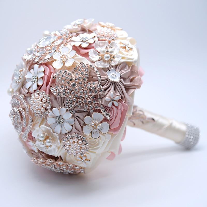 19CM Rose Wedding Artificial Flower Bouquet Silk Luxury Holding Fake Flowers Valentine's Day Home Decoration Accessories Gift - 4