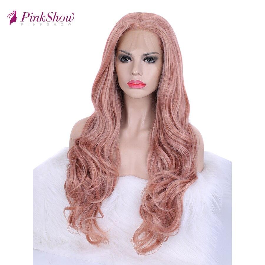 Pinkshow peruca dianteira do laço sintético rosa