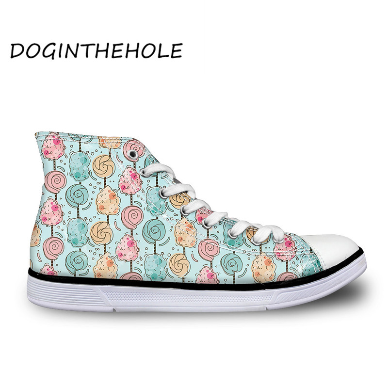 Hot Sale Women Fashion Canvas Shoes Candy Ice Cream 3D Pattern Girls Sneakers Ankle Shoes Sport Shoes For Female Buty Damskie