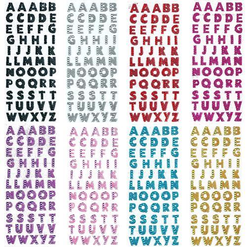 1 Sheet Glitter Alphabet Letter Stickers Self Adhesive ABC A-Z Words Stick Letters Stickers Alphabets Sticker Name Stickers