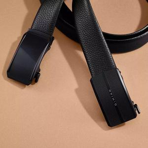Image 2 - Youpin QiMian Men Belt Mens Cowhide Leather Strap Nappa Leather Belt For Men Fashion 35mm Matte Mirror Buckle Waist Belt