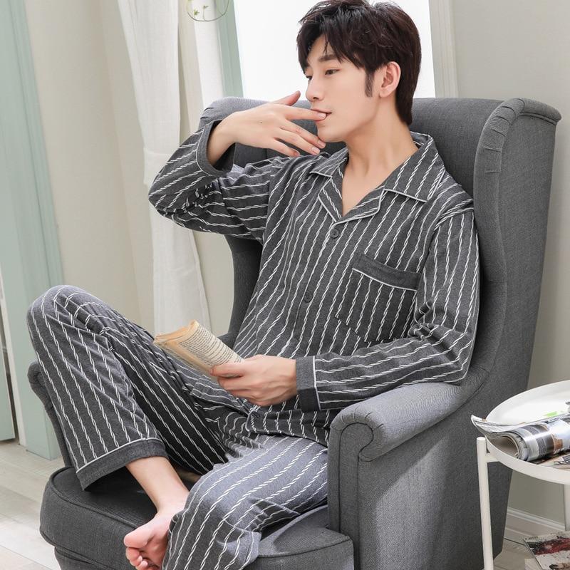 Mens Pajamas Men Sleepwear Cotton Pajama Set Spring Autumn Pijama Hombre Mens Sleepwear Striped Sleep Wear Pyjamas Plus Size