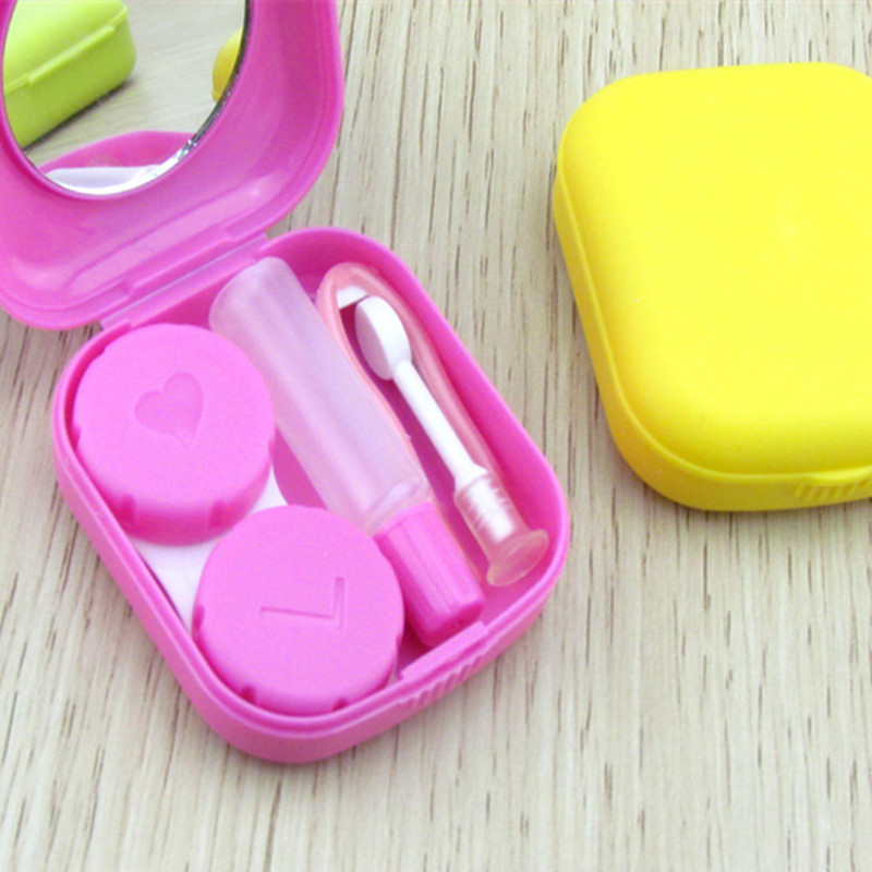 Portable Cute Contact Lenses Box Lens Case For Eyes Care Kit Candy Solid Color Glasses Case Holder Container Gift For Women Men