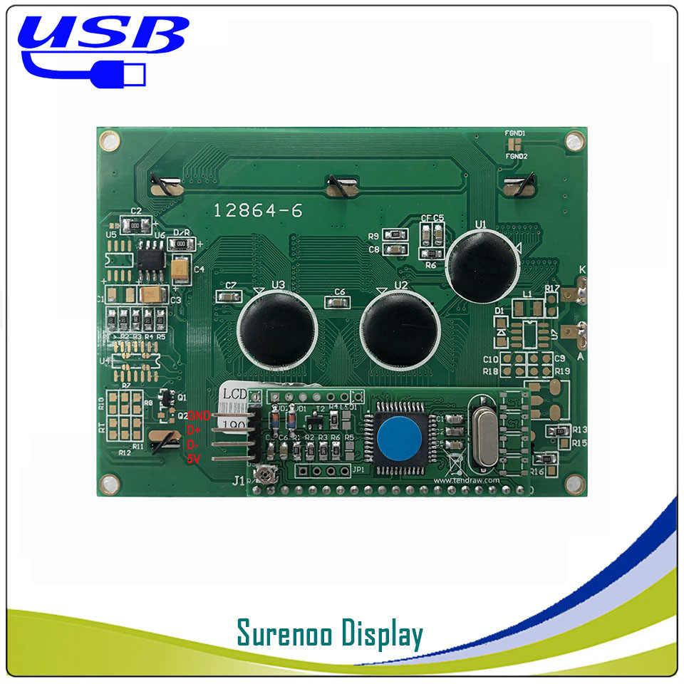 KS0108 LCD2USB USB 12864 128X64 الجرافيك وحدة عرض LCD شاشة لوحة sutible AIDA64 ل DIY PC