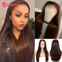 #4 encaje de colores frente pelucas de cabello humano recto brasileño pelucas de cabello humano para las mujeres negras Pre arrancó Remy pelo AliPearl pelucas