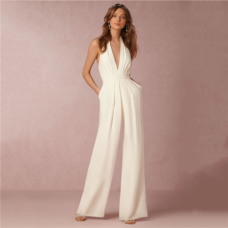 Jumpsuit Women White Sexy Loose Slim Long Wide Leg Pants Spring Autumn Very High Female Black Red Purple Chic Clothing 2XL CX736