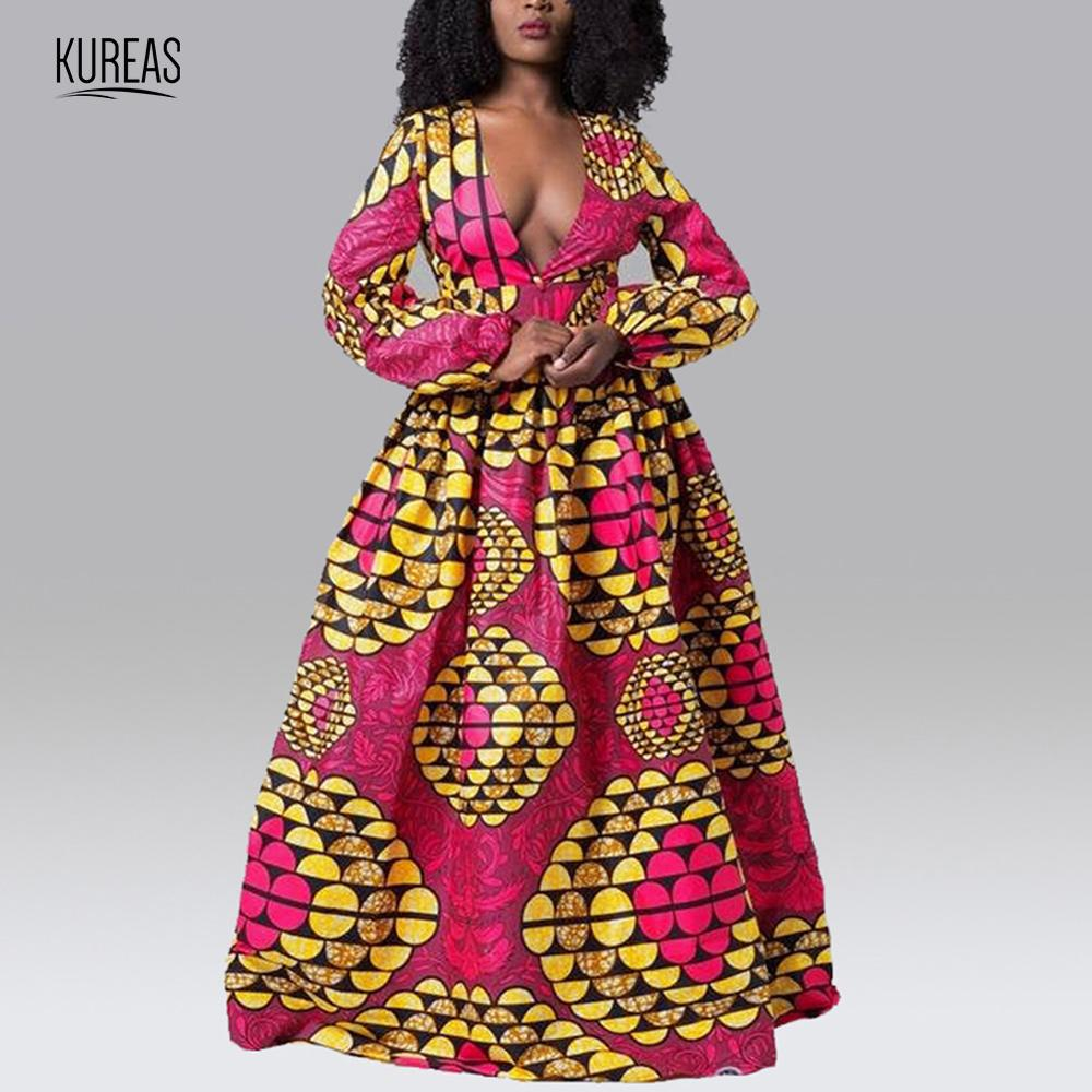 Kureas African Dresses For Women With Ruffles National Print Dashiki Dresses Deep V Neck African Clothes