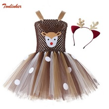 купить Christmas Deer Tutu Dress Baby Girls Dresses for Kids Halloween Costume Children Elk Cosplay Birthday Party Dress With Headband онлайн