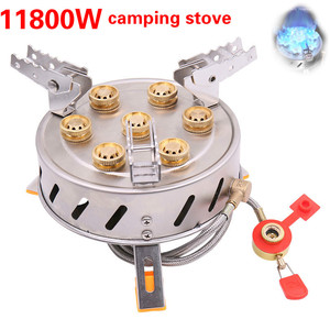Outdoor gas burner High-power fierce core Portable 7 Stars hiking backpacking picnic cooking stove for Camping barbecue cooker