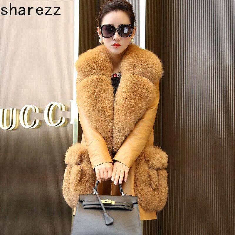 Nouvelle mode d'hiver de la femme en peau de mouton véritable manteau en cuir en duvet énorme col en fourrure de renard naturel longue veste en cuir femmes