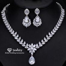 CC Necklace Drop Earrings Fine Jewelry Set 2pcs Engagement Wedding Accessory Water Drop Shapr Crystal Chocker Silver BijouxT0121