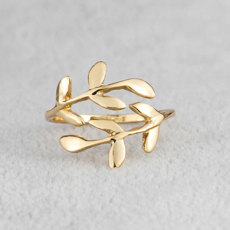 Stainless Steel Leaf Rings For Women Girls Rose Gold Silver Plant Female Knuckle Ring Fashion Engagement Wedding Party Jewelry