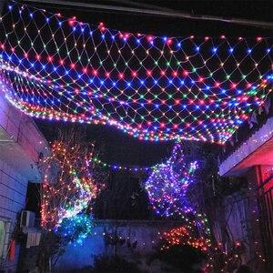 Image 2 - 3m*2m LED Net Lights Outdoor Mesh Christmas String Light Waterproof Landscape Wedding Holiday Xmas fairy Lamp Decoration EU 220V