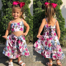 Kids Baby Girls Summer Sets Ruffle Collar Sleeveless Tops Vest Flower Bow Strap Skirt 2Pcs Outfits Girl Clothes 1-6Y