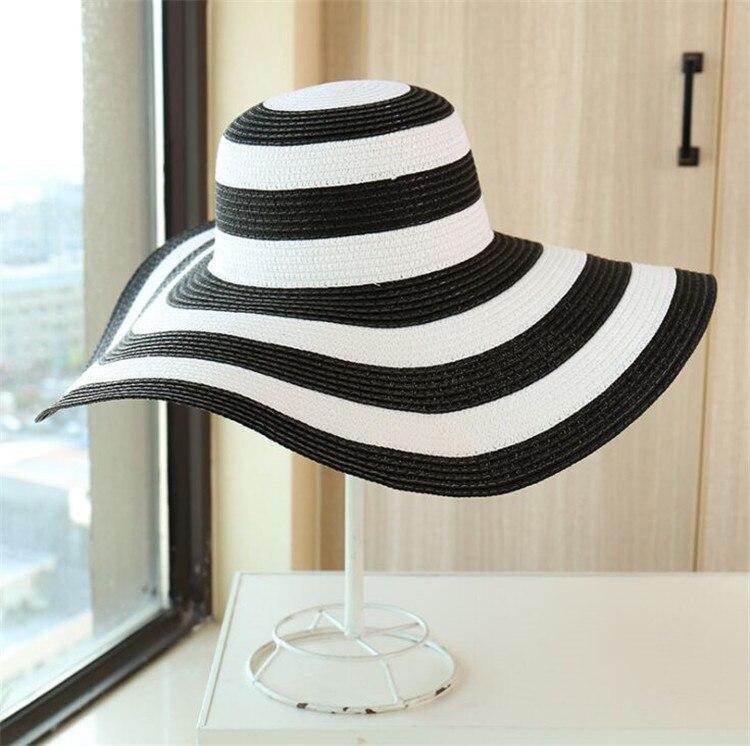 DONGYUN007 Floppy Straw Hat Women Striped Sunshade Cap Summer Big Wide Brim Sun Hat Holiday Beach Casual Panama