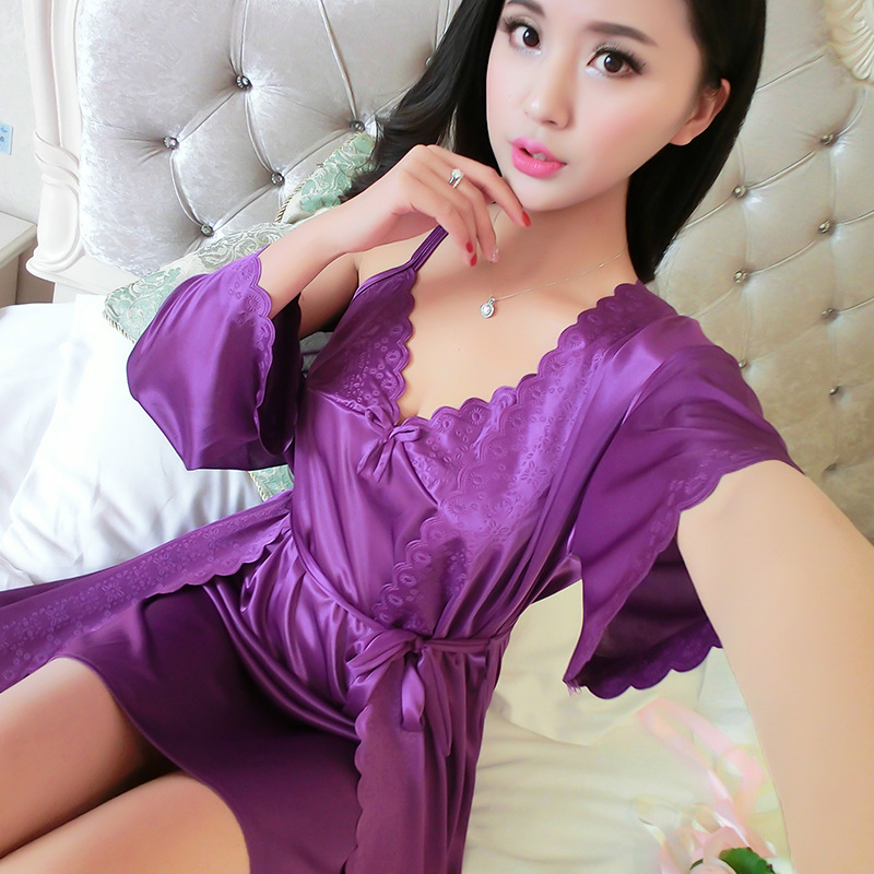 2019 New Style Summer Thin Section Nightgown Women's Solid Color Sexy Viscose Camisole V-neck Silk Short Skirt Nightgown Two-Pie