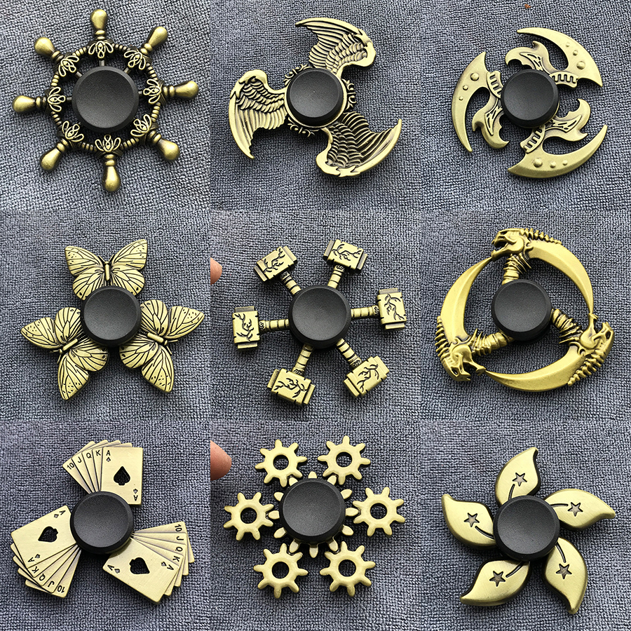 Gyro Toy Dice Fidget Spinner Finger Bauhinia Zinc-Alloy Metal Brass-Color Rudder Tri