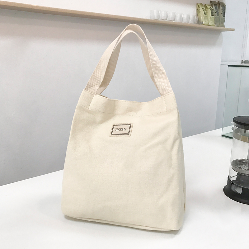 Eco Friendly Grocery Shopping Bags Korean Canvas Soft Tote Work Bag Foldable Reusable  Handbags Casual Shoulder Bags