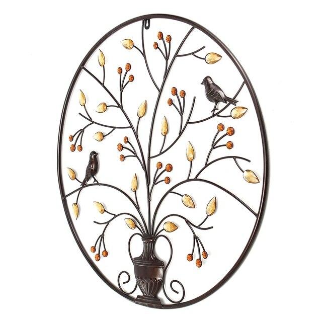 Oiseaux Vintage Sculpture en métal   Arbre et fer, ornement pour la salle de maison, décoration murale suspendue, artisanat dart, cadeau 62cm/24.4 pouces