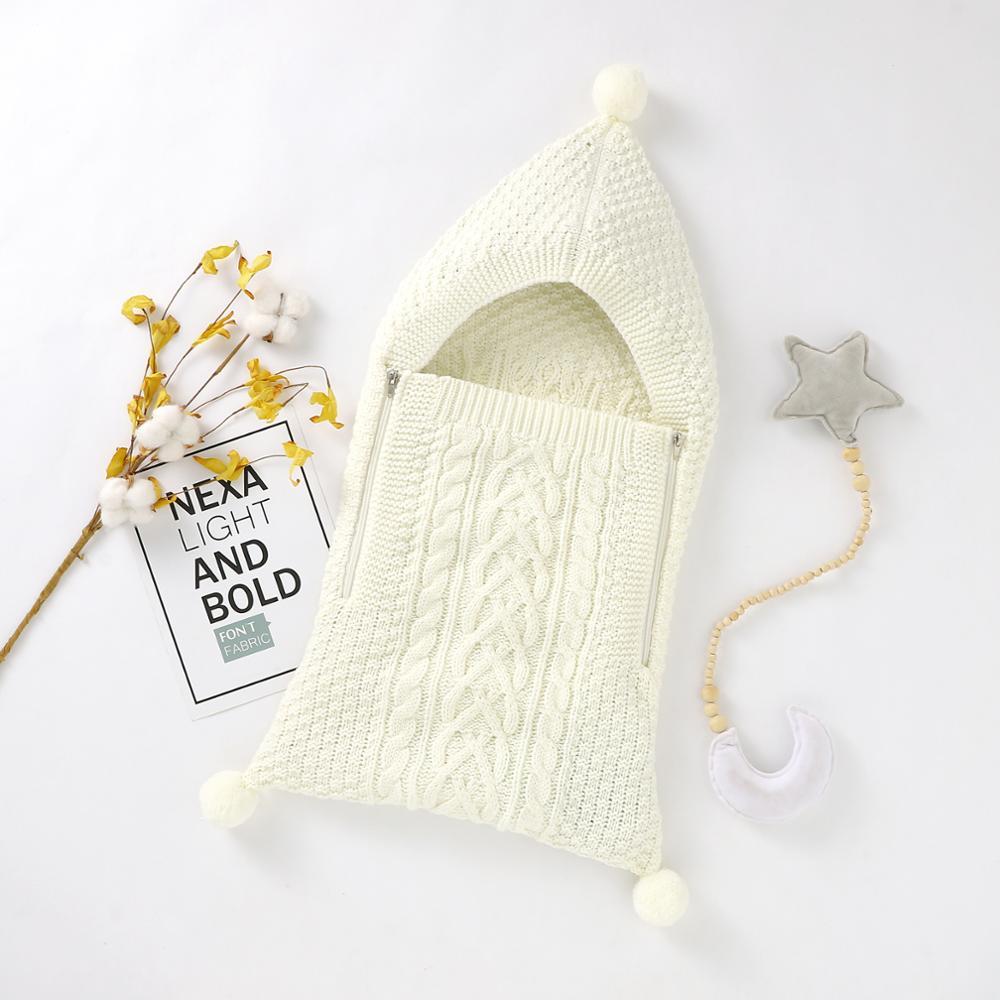 Baby Sleeping Bags Envelopes Autumn & Winter Knit Newborn Bebes Outdoor Stroller Sleepsack 0 6M Infant Kids Swaddle Wrap Blanket