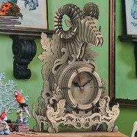 Reloj de madera 3D DIY, modelo de unicornio, rompecabezas de ensamblaje, reloj de ciervo, juguete para regalos de Navidad para niños, decoración del hogar de escritorio