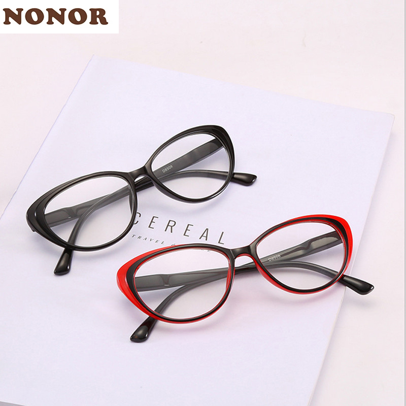 NONOR Women Reading Glasses Cat Eye Presbyopia Eyeglasses Fashion Style Reading Eyewear Magnifying Glasses Female Reade 1.5 2.0