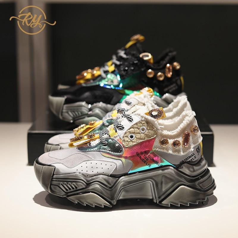 RY-RELAA Women Sneakers 2018 Luxury Shoes Women Designers Genuine Leather Rhinestone Sneakers Ins Style Platform Women Shoes
