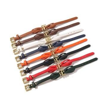 Bilincolor black leather belt with golden ch letter bracelet for female womens jewellery