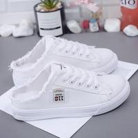 Zapatos de lona de medio arrastre para mujer, zapatillas planas informales de Baja parte superior, con cordones, color blanco, novedad de verano, qq718
