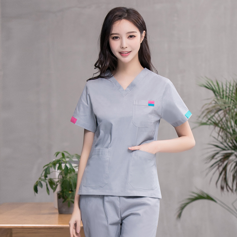 Dental Workwear Washing Handwear Short Sleeve Cotton Woman Doctor Yuezi Central Pet Hospital Korean Beauty