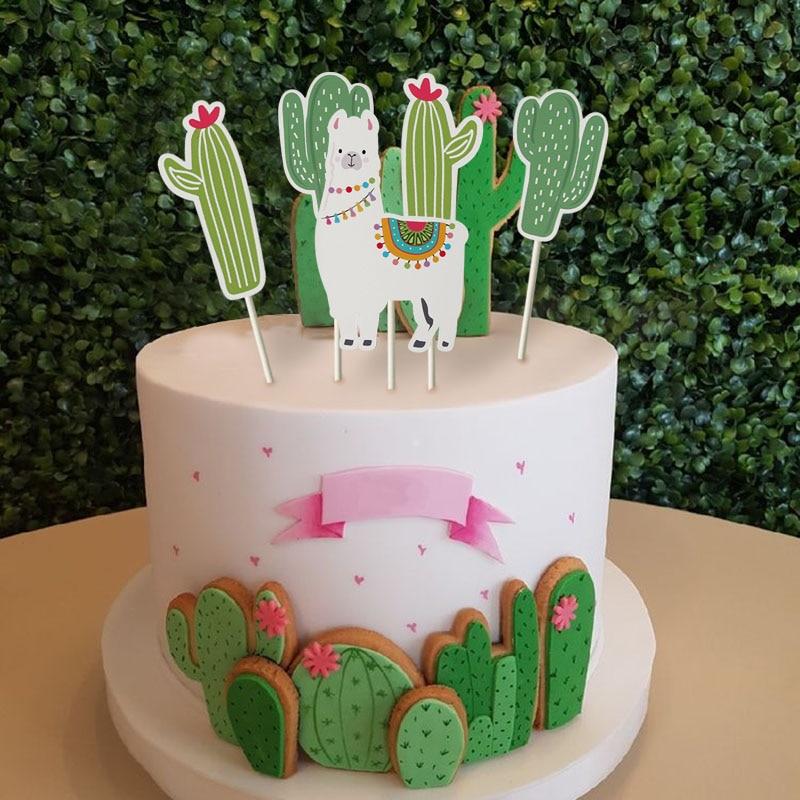 Décoration de gâteau amusante en Alpaca   Décoration de fête, fournitures de fête en alpaca, décoration de maison en forme de cactus Lama pour anniversaire dété, pâtisserie de gâteaux