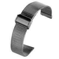 Cinturino Orologio 18MM 20MM 22MM Schwarz Edelstahl Mesh Uhr Band Haken Schnalle Uhren Strap Premium Ersatz armband