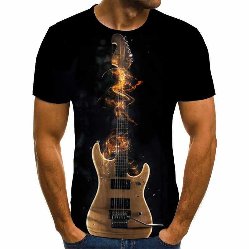 2020 Mới Nam 3D Đàn Guitar In Chữ Thời Trang Tay Ngắn Áo Hàng Ngày Áo Thun Tay Ngắn In Áo Thun Nữ Ảo Giác Quần Áo