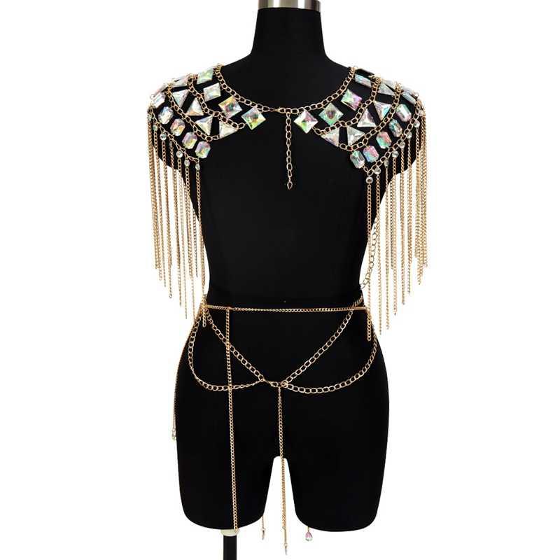 Gold Silver Metal Chain Crystal Epaulette Tops Skirt Set Sexy Harness Tassel Body Chain for Women Bikini Beach Goth Rave Jewelry