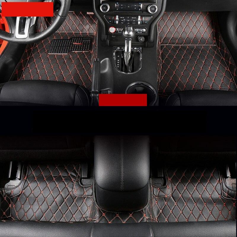 Lsrtw2017 fibre cuir tapis de sol de voiture pour ford mustang 2015 2016 2017 2018 2019 2020 accessoires tapis tapis