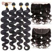 """Zhuomei Beauty Body Wave Bundels Met Frontale P Braziliaanse Haar 3 Bundels Met Frontale Sluiting Remy Human Hair 8  30inch 32 34 36"""""""