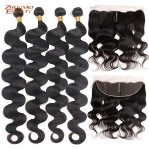"Image 1 - Zhuomei Beauty Body Wave Bundels Met Frontale P Braziliaanse Haar 3 Bundels Met Frontale Sluiting Remy Human Hair 8  30inch 32 34 36"""