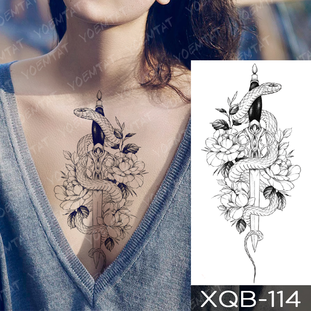 Waterproof Temporary Tattoo Sticker Snake Flower Rose Flash Tattoos Lace Fox Lion Tree Body Art Arm Fake Sleeve Tattoo Women 1
