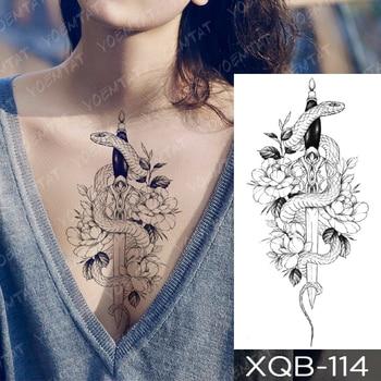 Waterproof Temporary Tattoo Sticker Snake Flower Rose Flash Tattoos Lace Fox Lion Tree Body Art Arm Fake Sleeve Tattoo Women 1