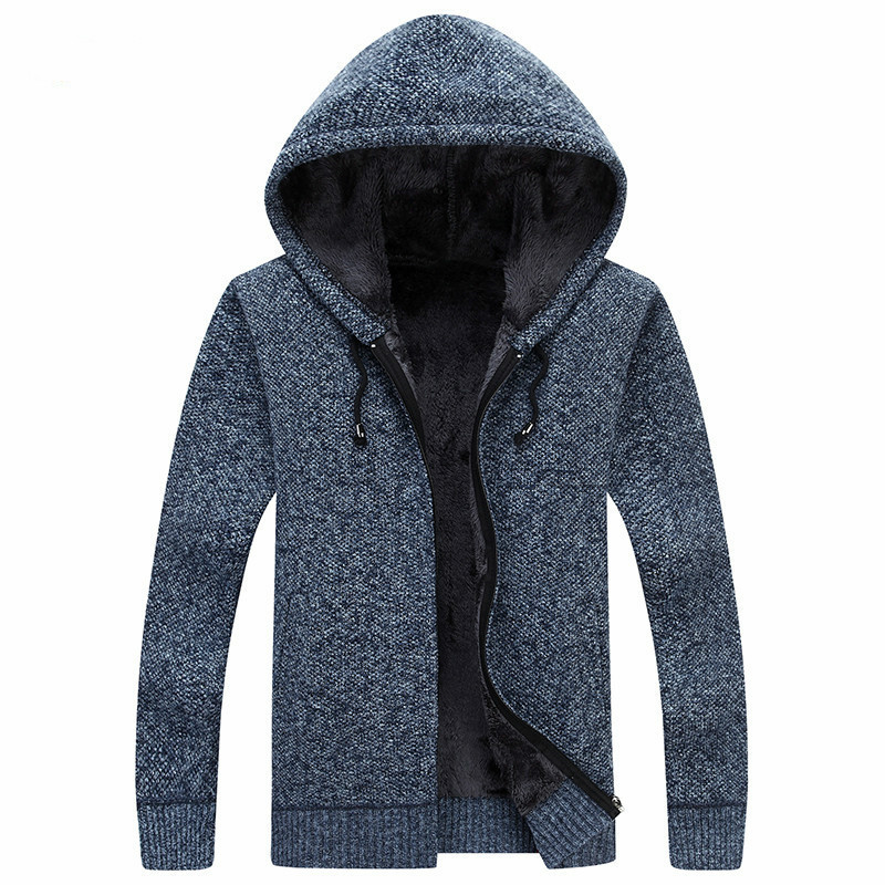 Winter Clothing Plus Velvet Thickening Hooded Sweater New Men Wool Sweaters Solid Male Cardigan Fashion Mens Coat MZM018