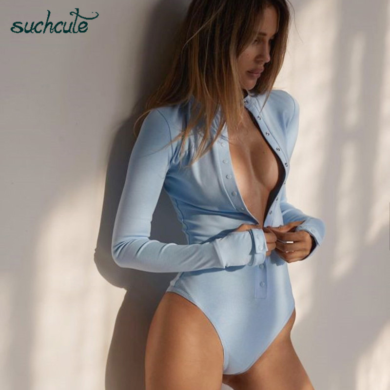 SUCHCUTE Button Body Overalls For Women Bodysuit Autumn 2019 Longslive Skinny Female Playsuit Macacao Feminino Jumpsuits Rompers