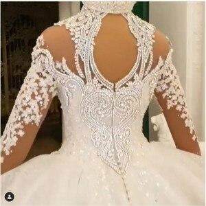 Image 4 - Luxury Dubai Crystal Rhinestone Wedding Dresses Lace Appliques Full Sleeves Puffy Ball Gowns 3D Flower Bridal Dress 2020