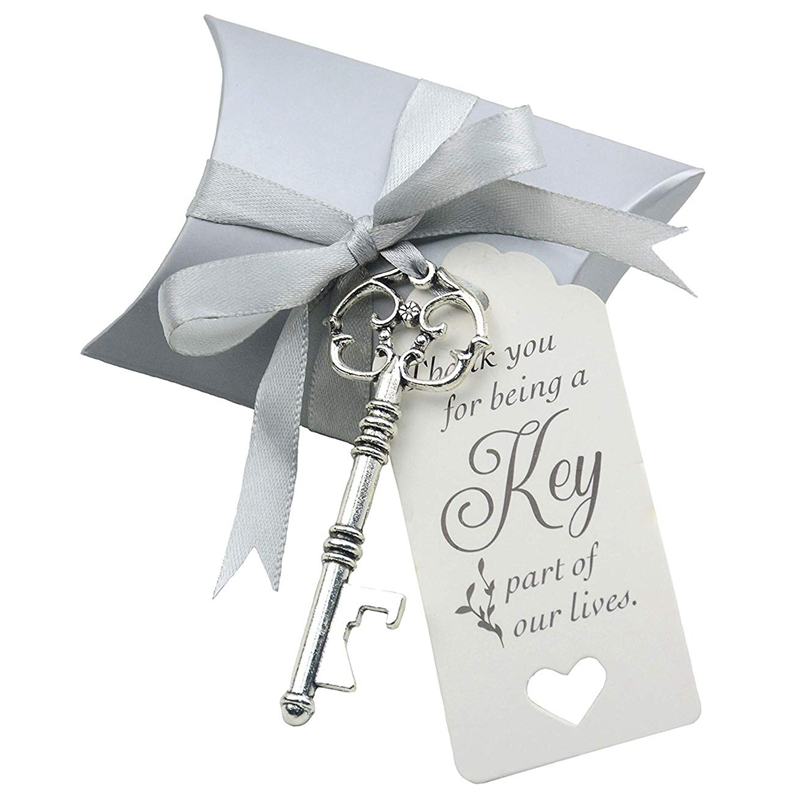 50Pcs Wedding Candy Souvenir Gift Set Pillow Candy Box Vintage Skeleton Key Opener French Ribbon