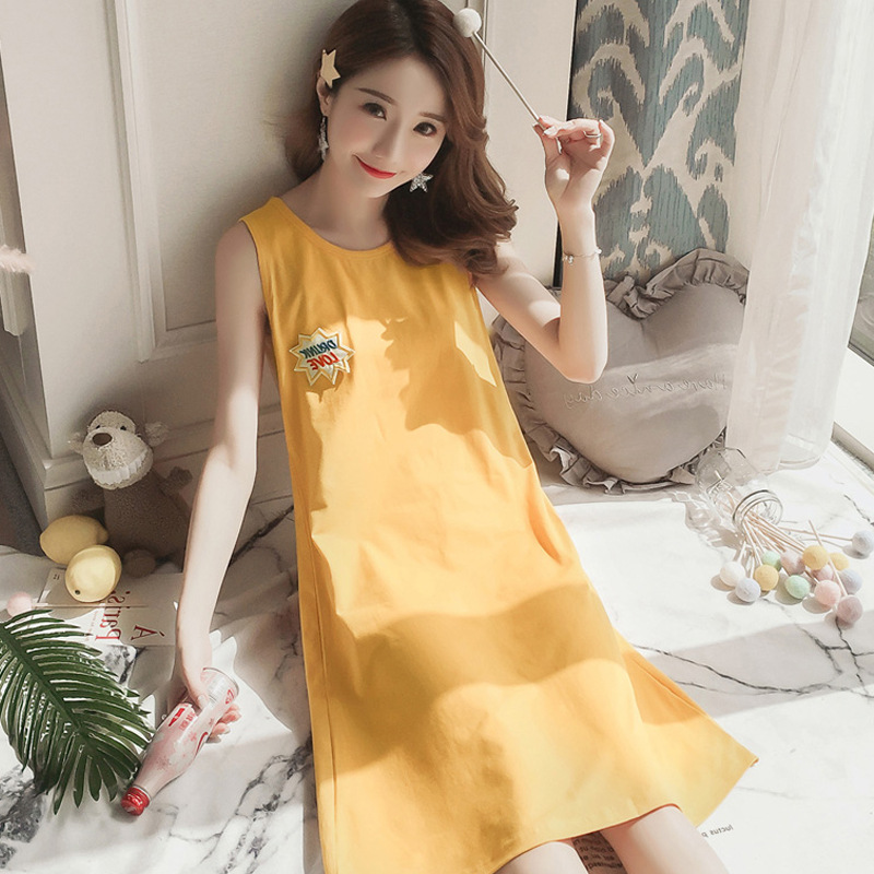 Summer New Style Cotton Pajamas Women's Korean-style Pink Panther Mid-length Sleeveless Vest Nightgown Outer Wear Loose-Fit Home